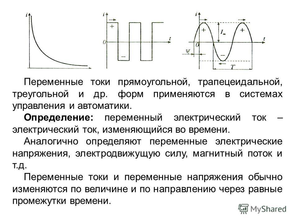 Переменные токи прямоугольной, трапецеидальной, треугольной и др. форм применяются в системах управления и автоматики. Определение: переменный электрический ток – электрический ток, изменяющийся во времени. Аналогично определяют переменные электричес