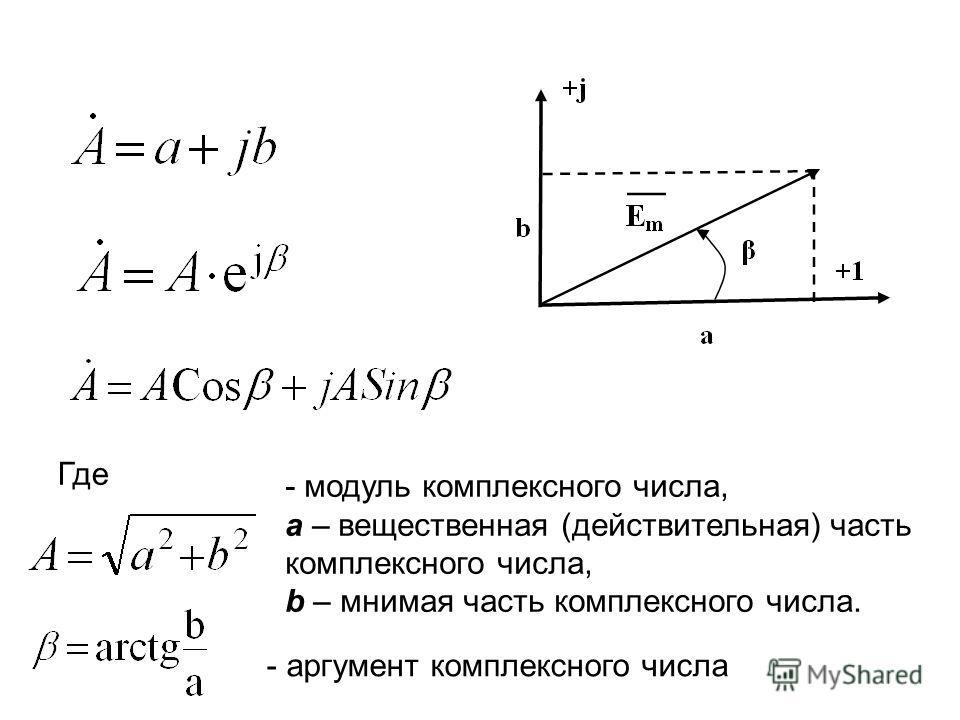 Где - модуль комплексного числа, a – вещественная (действительная) часть комплексного числа, b – мнимая часть комплексного числа. - аргумент комплексного числа