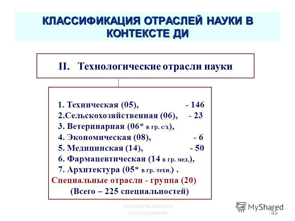 С.Г. Селетков: Методология диссертационного исследования30 КЛАССИФИКАЦИЯ ОТРАСЛЕЙ НАУКИ В КОНТЕКСТЕ ДИ II. Технологические отрасли науки 1. Техническая (05), - 146 2.Сельскохозяйственная (06), - 23 3. Ветеринарная (06* в гр. с/х ), 4. Экономическая (