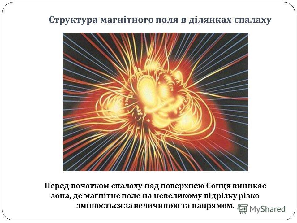 Структура магнітного поля в ділянках спалаху Перед початком спалаху над поверхнею Сонця виникає зона, де магнітне поле на невеликому відрізку різко змінюється за величиною та напрямом.