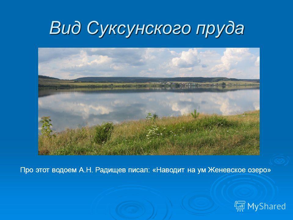 Вид Суксунского пруда Про этот водоем А.Н. Радищев писал: «Наводит на ум Женевское озеро»