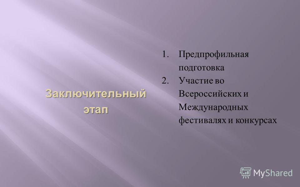 Заключительный этап 1.Предпрофильная подготовка 2.Участие во Всероссийских и Международных фестивалях и конкурсах