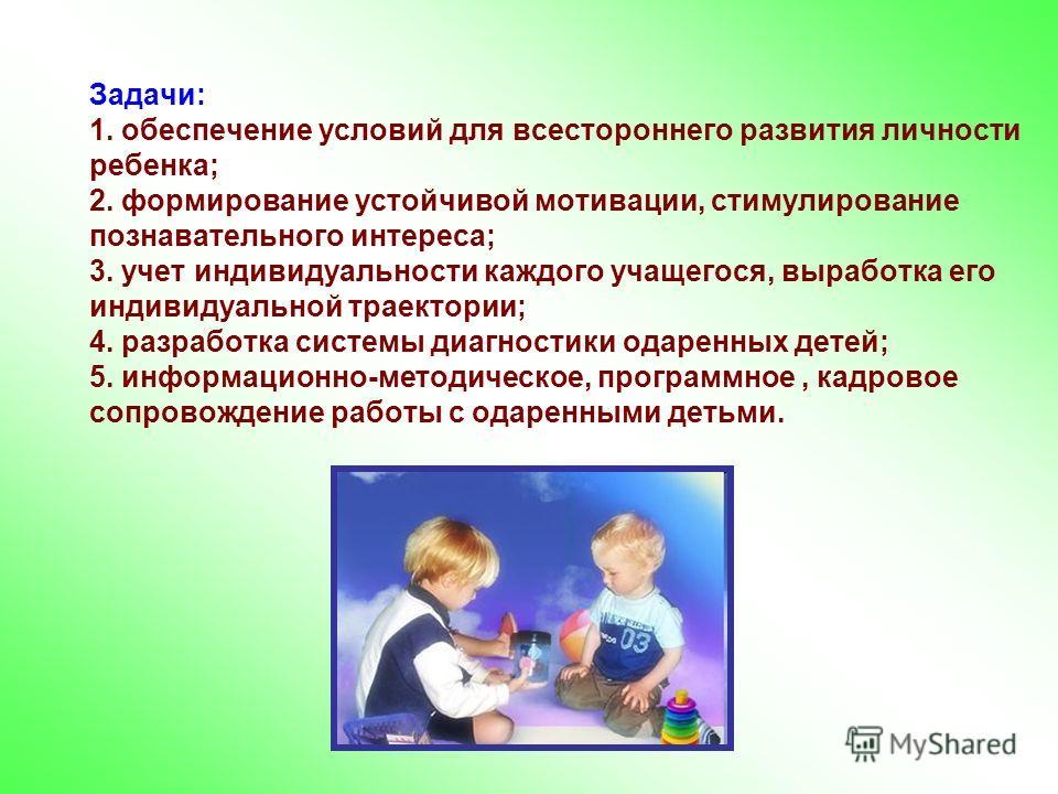 Задачи: 1. обеспечение условий для всестороннего развития личности ребенка; 2. формирование устойчивой мотивации, стимулирование познавательного интереса; 3. учет индивидуальности каждого учащегося, выработка его индивидуальной траектории; 4. разрабо