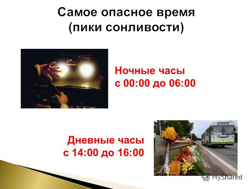 Ночные часы с 00:00 до 06:00 Дневные часы с 14:00 до 16:00