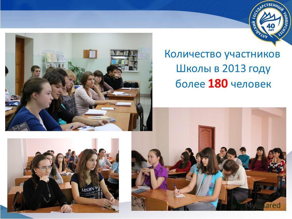 Количество участников Школы в 2013 году более 180 человек