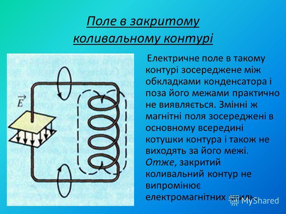 Поле в закритому коливальному контурі Електричне поле в такому контурі зосереджене між обкладками конденсатора і поза його межами практично не виявляється. Змінні ж магнітні поля зосереджені в основному всередині котушки контура і також не виходять з