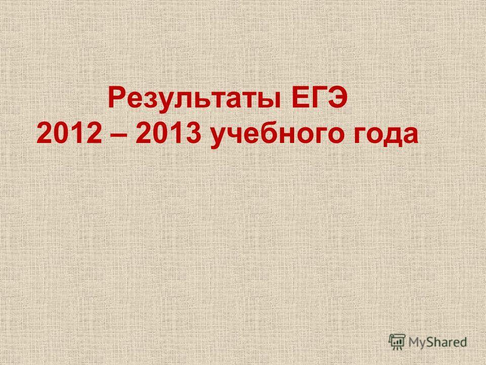 Результаты ЕГЭ 2012 – 2013 учебного года