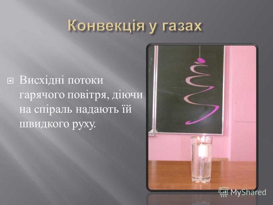 Висхідні потоки гарячого повітря, діючи на спіраль надають їй швидкого руху.