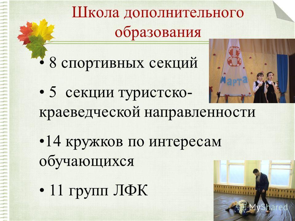Школа дополнительного образования 8 спортивных секций 5 секции туристско- краеведческой направленности 14 кружков по интересам обучающихся 11 групп ЛФК