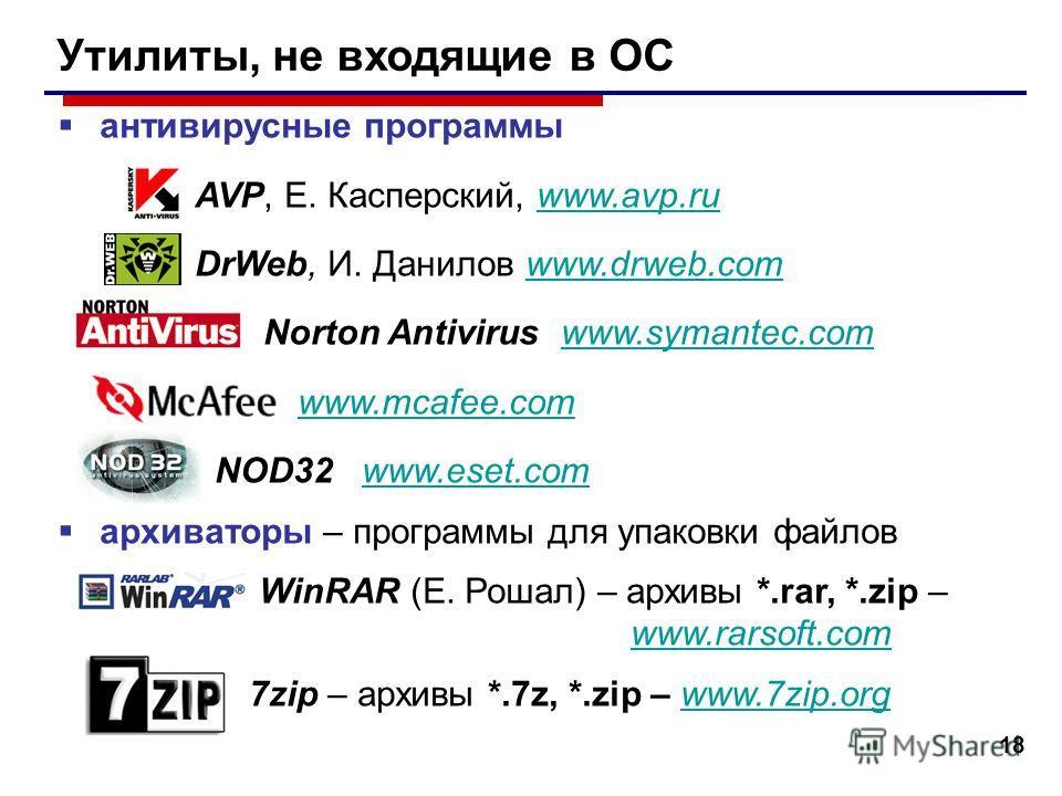 18 Утилиты, не входящие в ОС антивирусные программы AVP, Е. Касперский, www.avp.ruwww.avp.ru DrWeb, И. Данилов www.drweb.comwww.drweb.com Norton Antivirus www.symantec.comwww.symantec.com www.mcafee.com NOD32 www.eset.comwww.eset.com архиваторы – про