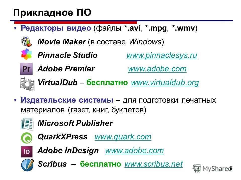 9 Прикладное ПО Редакторы видео (файлы *.avi, *.mpg, *.wmv) Movie Maker (в составе Windows) Pinnacle Studio www.pinnaclesys.ruwww.pinnaclesys.ru Adobe Premier www.adobe.comwww.adobe.com VirtualDub – бесплатно www.virtualdub.orgwww.virtualdub.org Изда