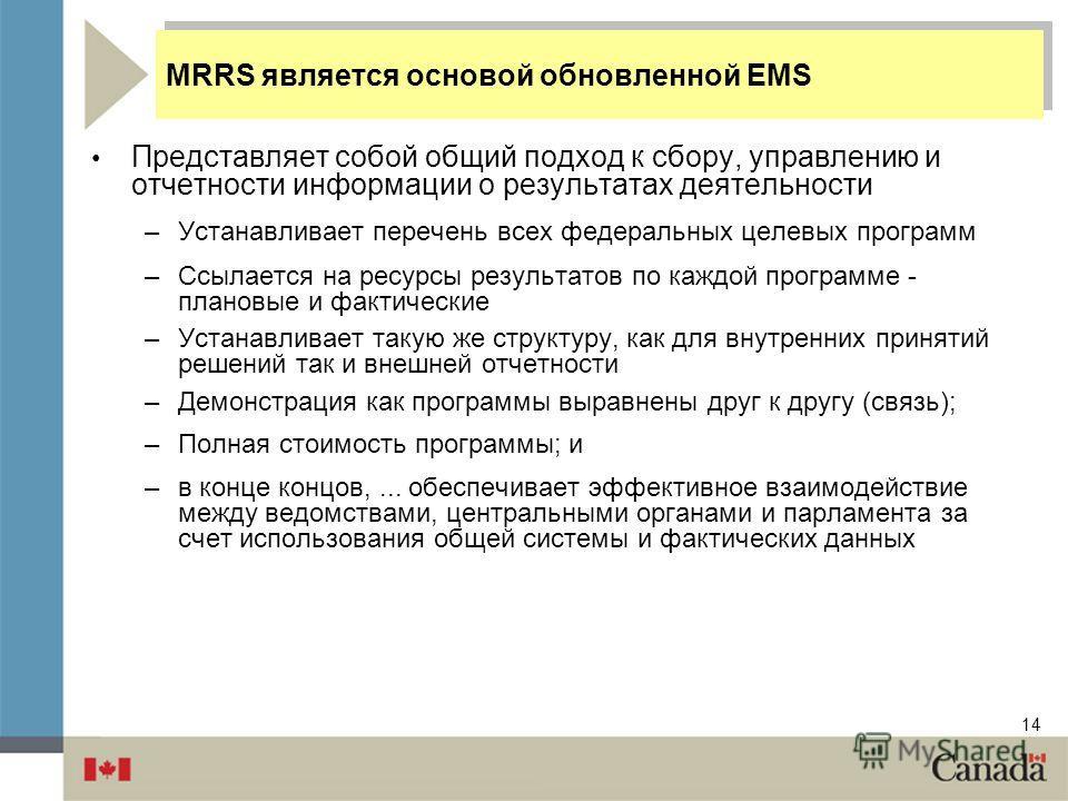14 MRRS является основой обновленной EMS Представляет собой общий подход к сбору, управлению и отчетности информации о результатах деятельности –Устанавливает перечень всех федеральных целевых программ –Ссылается на ресурсы результатов по каждой прог