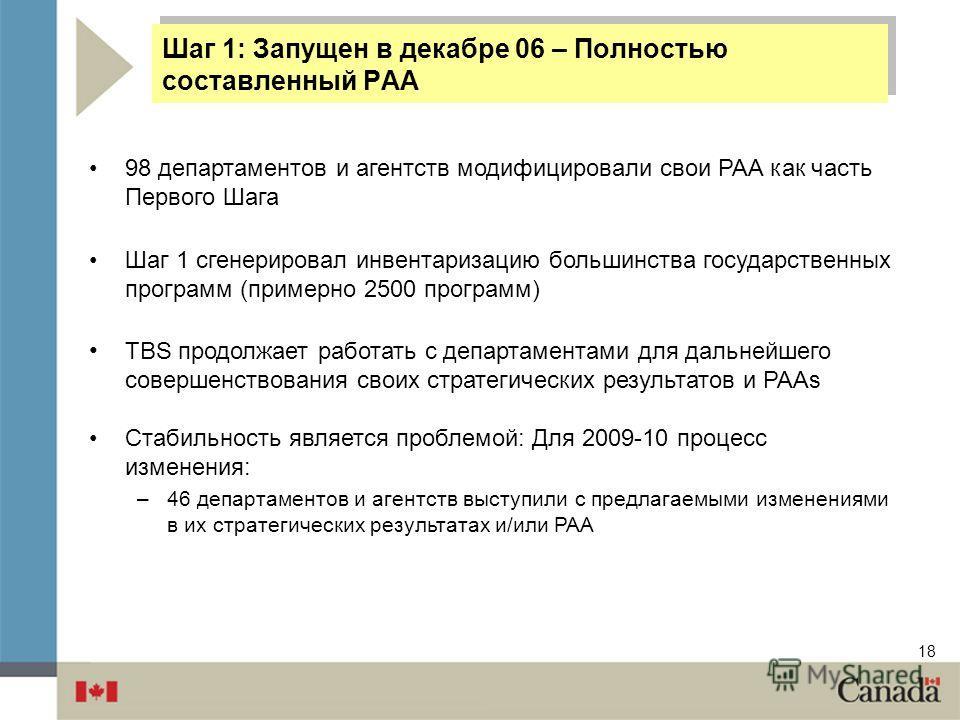 18 Шаг 1: Запущен в декабре 06 – Полностью составленный PAA 98 департаментов и агентств модифицировали свои PAA как часть Первого Шага Шаг 1 сгенерировал инвентаризацию большинства государственных программ (примерно 2500 программ) TBS продолжает рабо