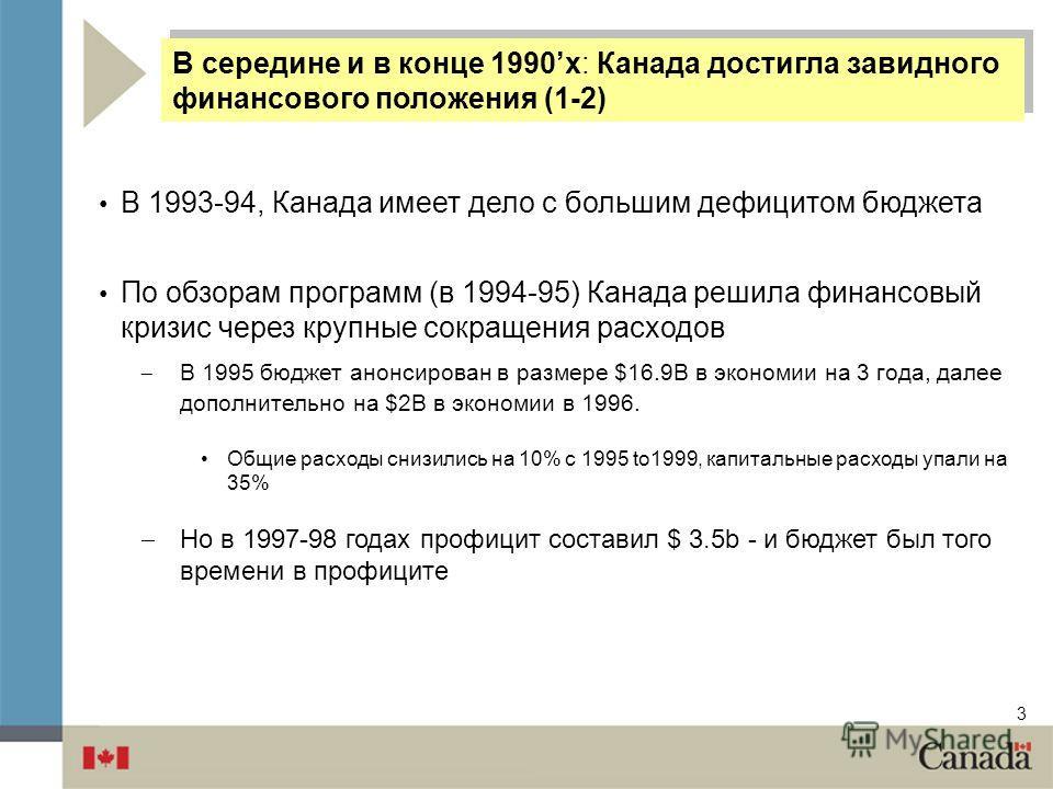 3 В 1993-94, Канада имеет дело с большим дефицитом бюджета По обзорам программ (в 1994-95) Канада решила финансовый кризис через крупные сокращения расходов В 1995 бюджет анонсирован в размере $16.9B в экономии на 3 года, далее дополнительно на $2B в