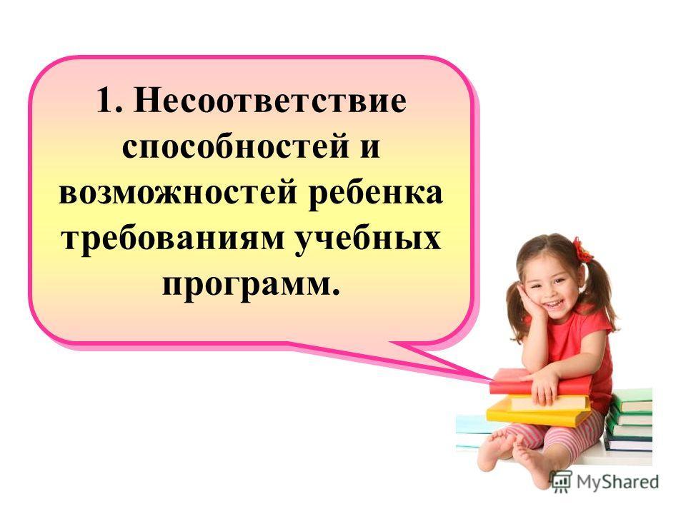 1. Несоответствие способностей и возможностей ребенка требованиям учебных программ. 1. Несоответствие способностей и возможностей ребенка требованиям учебных программ.