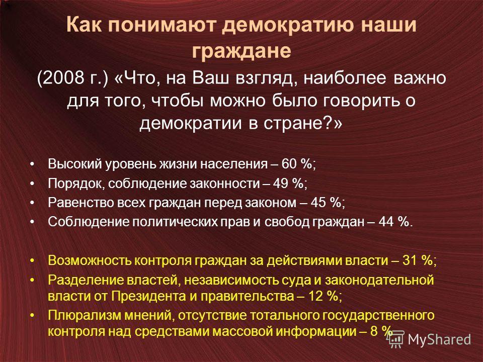 Как понимают демократию наши граждане (2008 г.) «Что, на Ваш взгляд, наиболее важно для того, чтобы можно было говорить о демократии в стране?» Высокий уровень жизни населения – 60 %; Порядок, соблюдение законности – 49 %; Равенство всех граждан пере