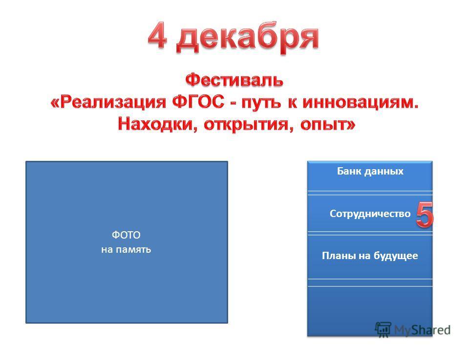 ФОТО на память Банк данных Сотрудничество Планы на будущее
