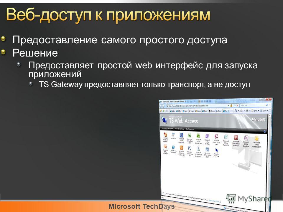 Предоставление самого простого доступа Решение Предоставляет простой web интерфейс для запуска приложений TS Gateway предоставляет только транспорт, а не доступ