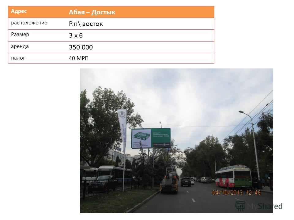Адрес Абая – Достык расположение Р.п\ восток Размер 3 х 6 аренда 350 000 налог 40 МРП