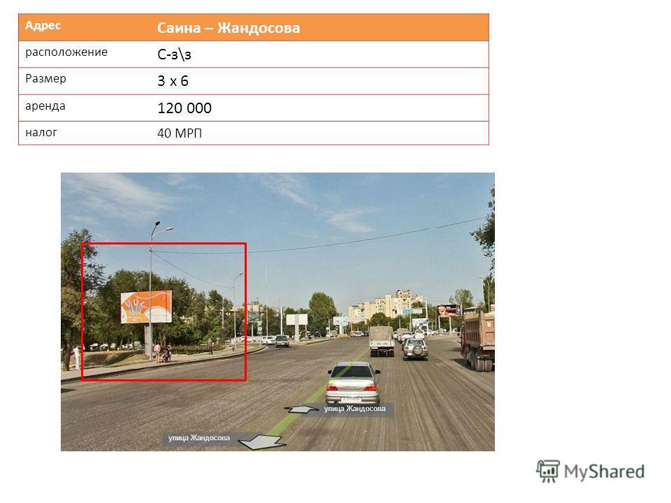 Адрес Саина – Жандосова расположение С-з\з Размер 3 х 6 аренда 120 000 налог 40 МРП