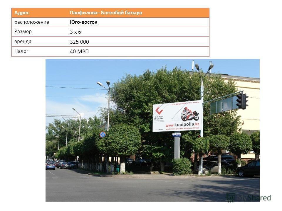 Адрес Панфилова– Богенбай батыра расположениеЮго-восток Размер 3 х 6 аренда 325 000 Налог 40 МРП