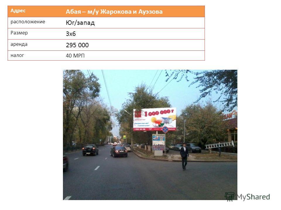 Адрес Абая – м/у Жарокова и Ауэзова расположение Юг/запад Размер 3х6 аренда 295 000 налог 40 МРП