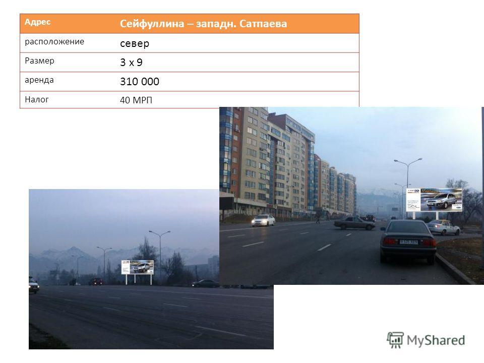 Адрес Сейфуллина – западн. Сатпаева расположение север Размер 3 х 9 аренда 310 000 Налог 40 МРП