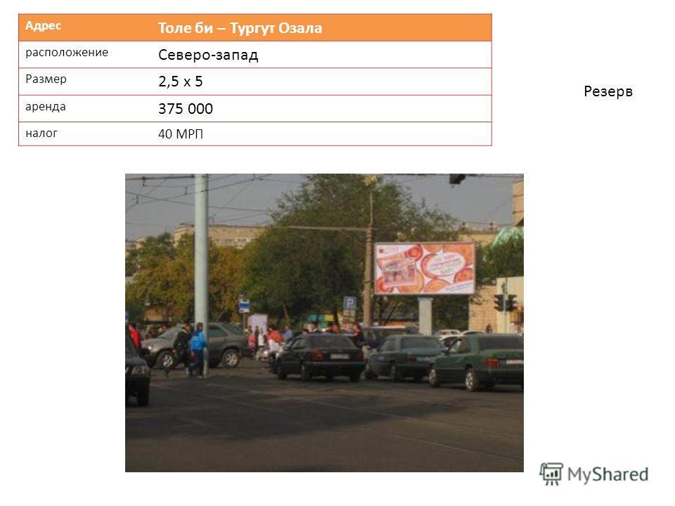 Адрес Толе би – Тургут Озала расположение Северо-запад Размер 2,5 х 5 аренда 375 000 налог 40 МРП Резерв