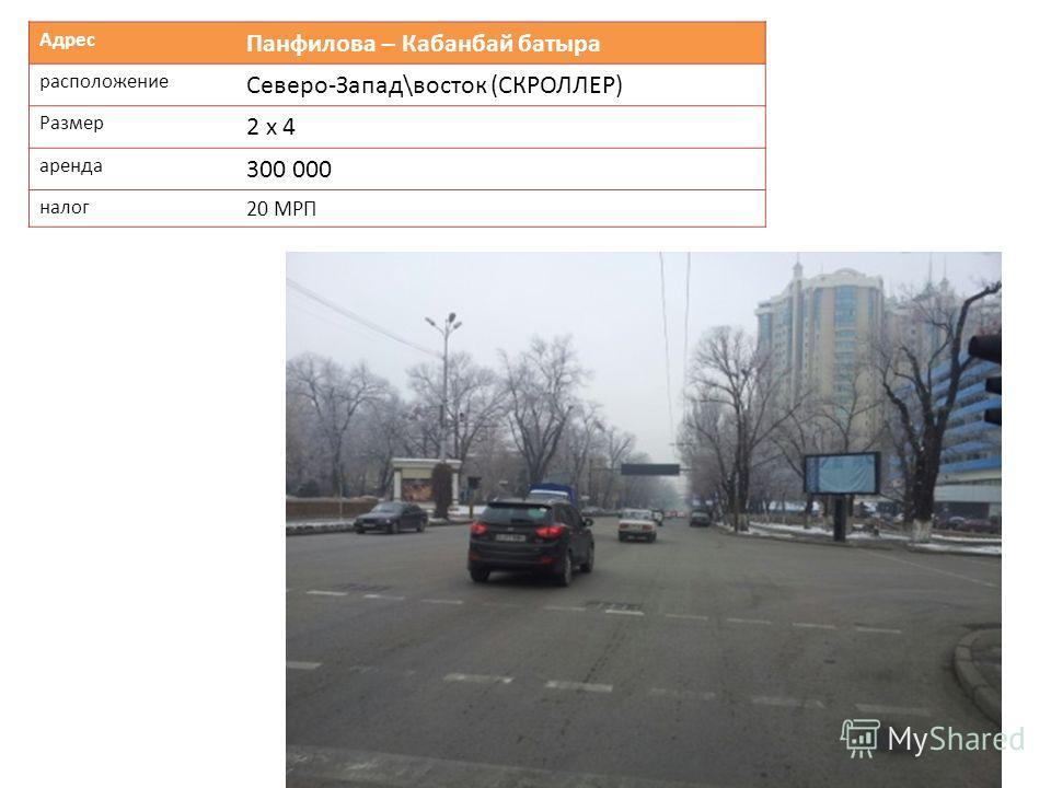 Адрес Панфилова – Кабанбай батыра расположение Северо-Запад\восток (СКРОЛЛЕР) Размер 2 х 4 аренда 300 000 налог 20 МРП