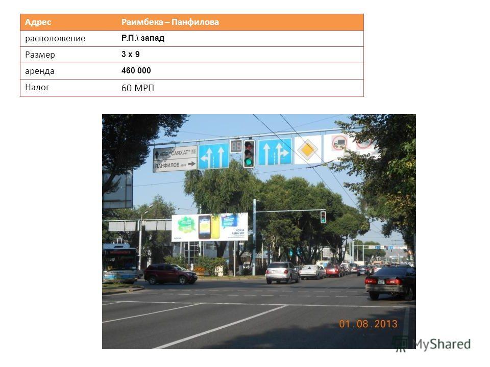 Адрес Раимбека – Панфилова расположение Р.П.\ запад Размер 3 х 9 аренда 460 000 Налог 60 МРП