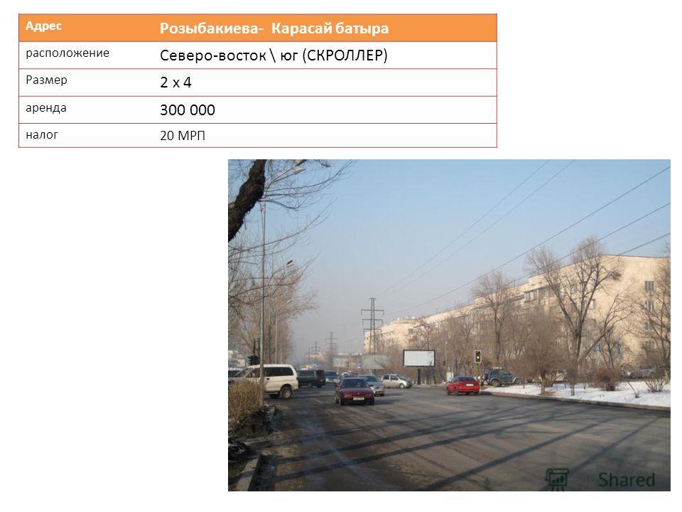 Адрес Розыбакиева- Карасай батыра расположение Северо-восток \ юг (СКРОЛЛЕР) Размер 2 х 4 аренда 300 000 налог 20 МРП