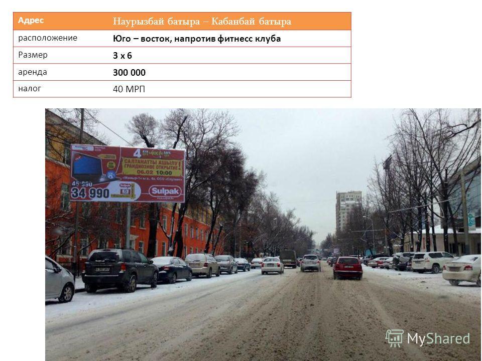 Адрес Наурызбай батыра – Кабанбай батыра расположение Юго – восток, напротив фитнесс клуба Размер 3 х 6 аренда 300 000 налог 40 МРП