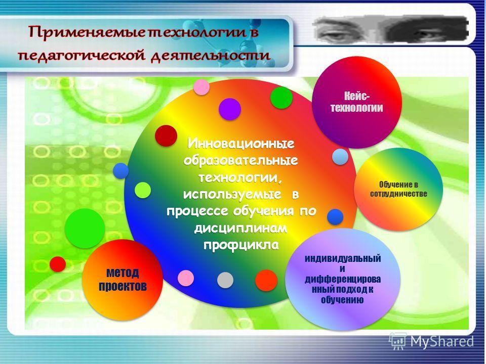 Инновационные образовательные технологии, используемые в процессе обучения по дисциплинам профцикла Обучение в сотрудничестве индивидуальный и дифференцирова нный подход к обучению Кейс- технологии метод проектов