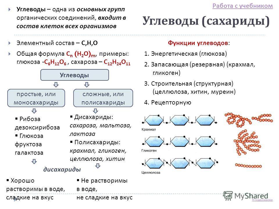 Углеводы ( сахариды ) Углеводы – одна из основных групп органических соединений, входит в состав клеток всех организмов Элементный состав – С, Н, О Общая формула С n ( Н 2 О ) m, примеры : глюкоза - С 6 Н 12 О 6, сахароза – С 12 Н 24 О 11 Функции угл