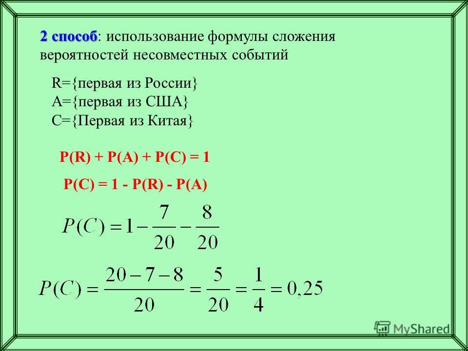 2 способ 2 способ: использование формулы сложения вероятностей несовместных событий R={первая из России} A={первая из США} C={Первая из Китая} P(R) + P(A) + P(C) = 1 P(C) = 1 - P(R) - P(A)