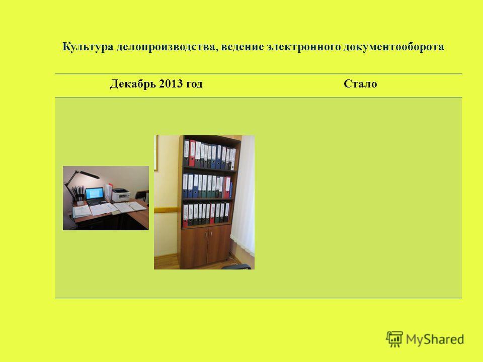 Культура делопроизводства, ведение электронного документооборота Декабрь 2013 годСтало