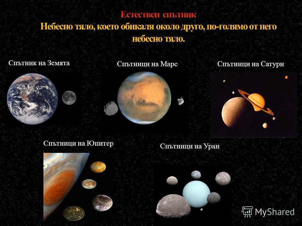 Спътници на Уран Спътник на Земята Спътници на Марс Спътници на Сатурн Спътници на Юпитер