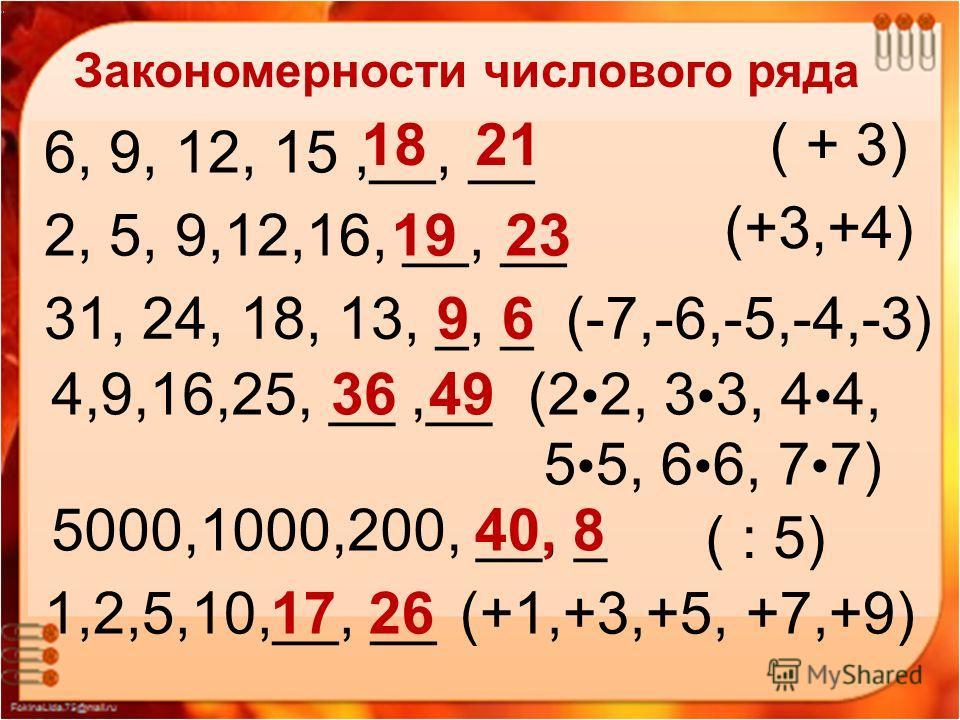 Закономерности числового ряда «Мир логики» Закономерности числового ряда 6, 9, 12, 15,__, __ 18 21( + 3) 2, 5, 9,12,16, __, __19 23 (+3,+4) 31, 24, 18, 13, _, _9 6(-7,-6,-5,-4,-3) 4,9,16,25, __,__36 49(2 2, 3 3, 4 4, 5 5, 6 6, 7 7) 5000,1000,200, __,