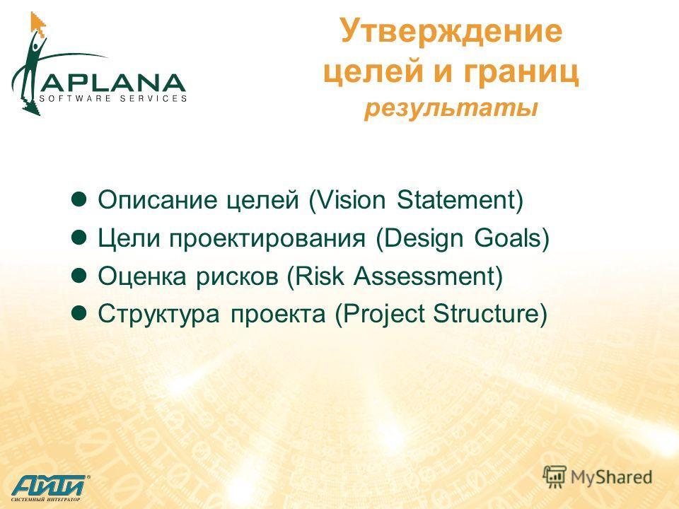 Утверждение целей и границ результаты Описание целей (Vision Statement) Цели проектирования (Design Goals) Оценка рисков (Risk Assessment) Структура проекта (Project Structure)
