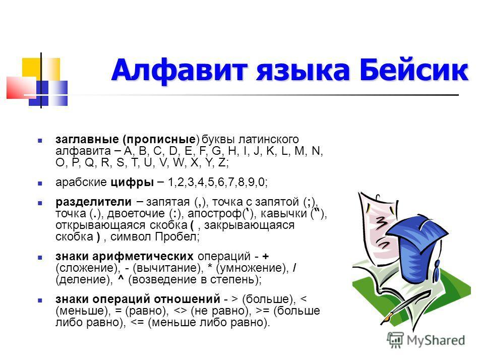 Алфавит языка Бейсик заглавные (прописные) буквы латинского алфавита – A, B, C, D, E, F, G, H, I, J, K, L, M, N, O, P, Q, R, S, T, U, V, W, X, Y, Z; арабские цифры – 1,2,3,4,5,6,7,8,9,0; разделители – запятая (,), точка с запятой (;), точка (.), двое