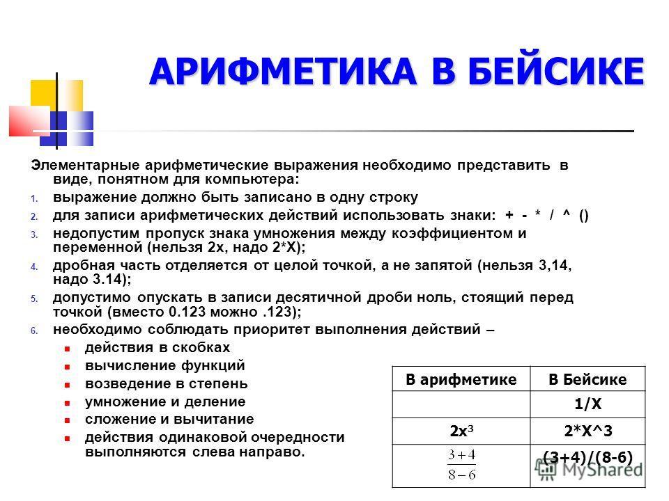 АРИФМЕТИКА В БЕЙСИКЕ Элементарные арифметические выражения необходимо представить в виде, понятном для компьютера: 1. выражение должно быть записано в одну строку 2. для записи арифметических действий использовать знаки: + - * / ^ () 3. недопустим пр