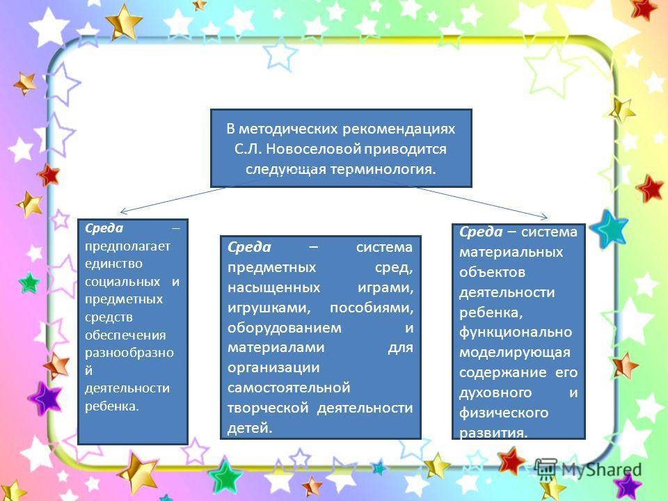 В методических рекомендациях С.Л. Новоселовой приводится следующая терминология. Среда – система предметных сред, насыщенных играми, игрушками, пособиями, оборудованием и материалами для организации самостоятельной творческой деятельности детей. Сред