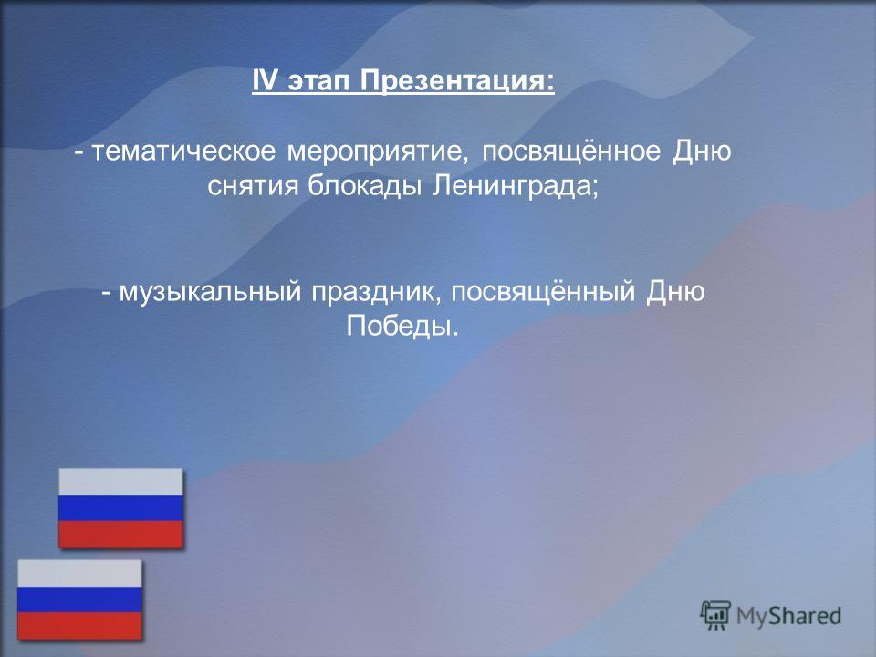 IV этап Презентация: - тематическое мероприятие, посвящённое Дню снятия блокады Ленинграда; - музыкальный праздник, посвящённый Дню Победы.