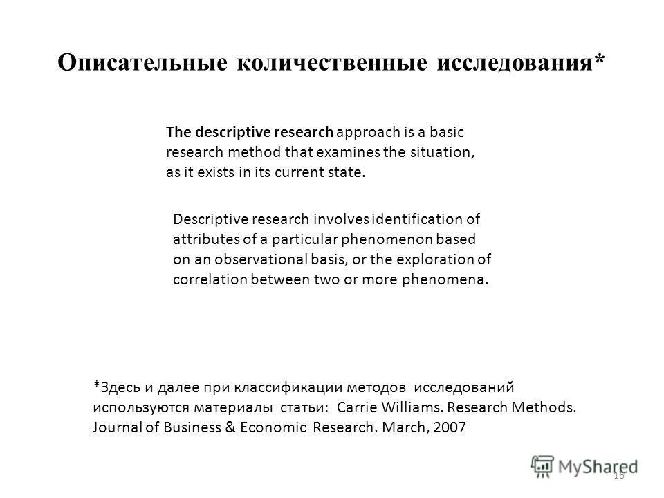 Описательные количественные исследования* The descriptive research approach is a basic research method that examines the situation, as it exists in its current state. Descriptive research involves identification of attributes of a particular phenomen