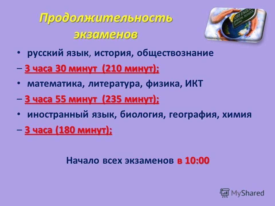 Продолжительность экзаменов русский язык, история, обществознание 3 часа 30 минут (210 минут); – 3 часа 30 минут (210 минут); математика, литература, физика, ИКТ 3 часа 55 минут (235 минут); – 3 часа 55 минут (235 минут); иностранный язык, биология,