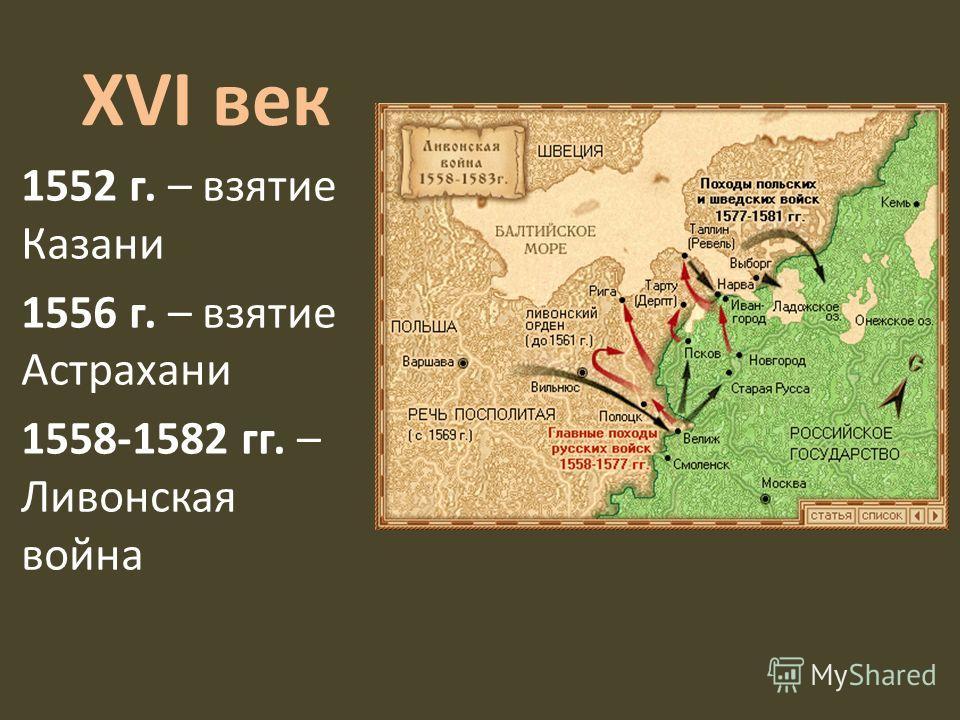 XVI век 1552 г. – взятие Казани 1556 г. – взятие Астрахани 1558-1582 гг. – Ливонская война