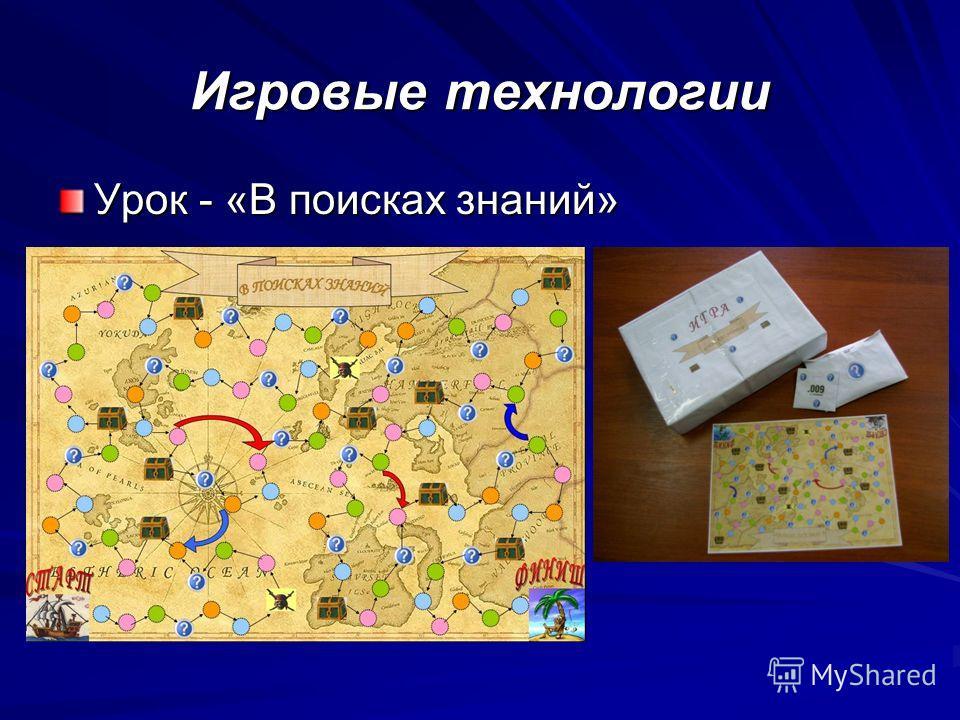 Игровые технологии Урок - «В поисках знаний»