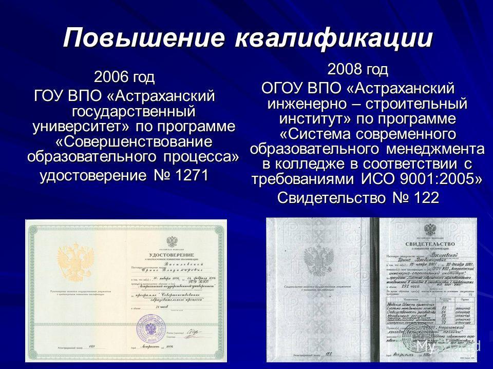 Повышение квалификации 2008 год ОГОУ ВПО «Астраханский инженерно – строительный институт» по программе «Система современного образовательного менеджмента в колледже в соответствии с требованиями ИСО 9001:2005» Свидетельство 122 2006 год ГОУ ВПО «Астр