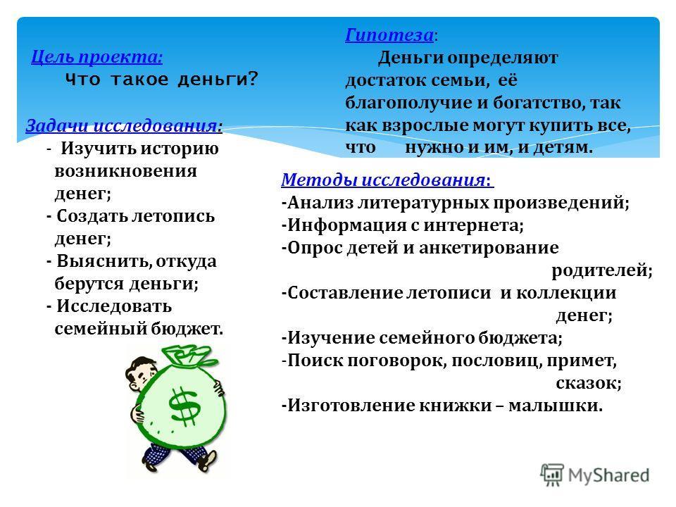 Цель проекта: Что такое деньги? Гипотеза: Деньги определяют достаток семьи, её благополучие и богатство, так как взрослые могут купить все, что нужно и им, и детям. Задачи исследования: - Изучить историю возникновения денег; - Создать летопись денег;