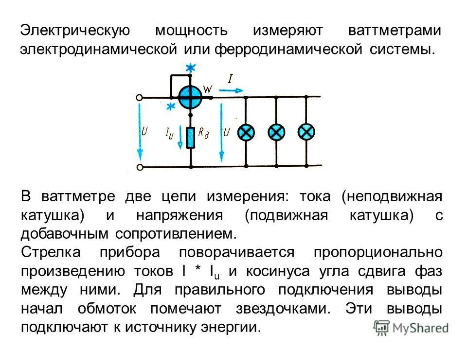 Электрическую мощность измеряют ваттметрами электродинамической или ферродинамической системы. В ваттметре две цепи измерения: тока (неподвижная катушка) и напряжения (подвижная катушка) с добавочным сопротивлением. Стрелка прибора поворачивается про